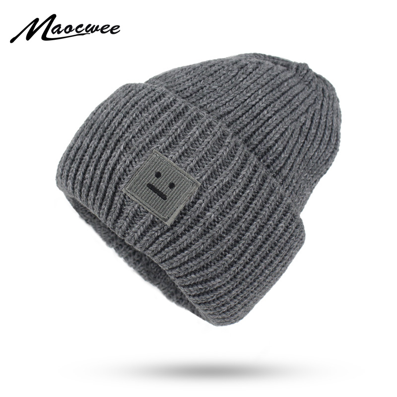 fb5bf853216 Winter Women Hat Beanie Fashion Casual Solid Thick Solid color Warm Cap  Smiling face pattern Knitted Hip hop Hat Male Female