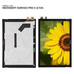 Dla microsoft surface Pro 4 Pro4 1724 panel wyświetlacza LCD Combo wymiana czujnika szklanego ekranu dotykowego|Ekrany LCD i panele do tabletów|   -