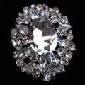 Large Size Vintage Silver Plated Big Glass Crystal Wedding Brooch 3 Inch