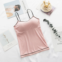 Female Padded Tank Top Camisole Slim Sexy Strap Top Women Summer Off Shoulder Camisole Camisoles