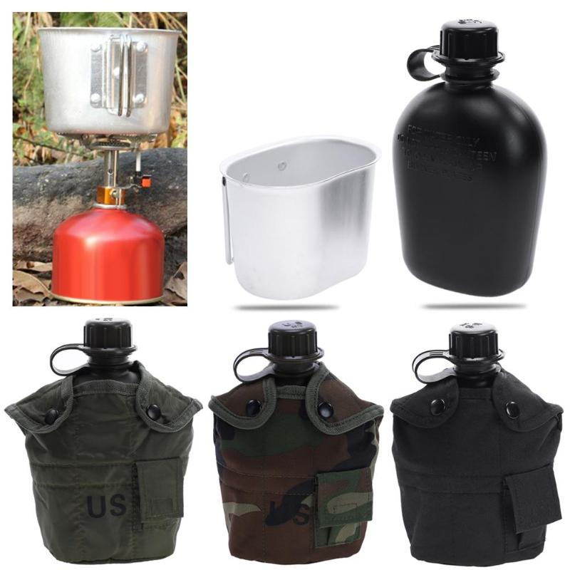 Hot Heavy Cover Army Water Bottle Aluminum Cooking Cup US 1L Military Canteen Camping Hiking Survival Kettle Outdoor Tableware