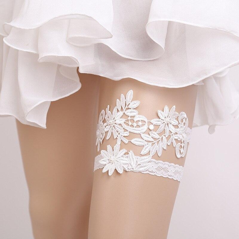 Jarretière de mariée style occidental dentelle jambe anneau accessoires de mariage 6 pièces