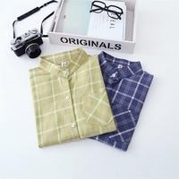 Women Blouses Brand Quality Cotton Blouse Size S XL Women Shirts Casual Plaid Shirts Long Girls