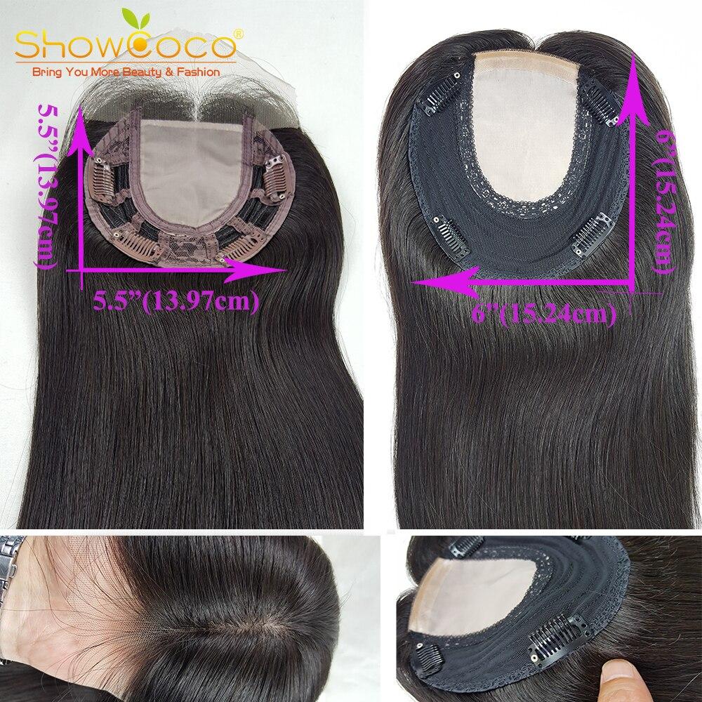 Парик из натуральных волос для женщин, топперы для волос 5,5*5,5, шелковая основа, 130% натуральные волосы, без силиконовых зажимов, парик для волос Showcoco