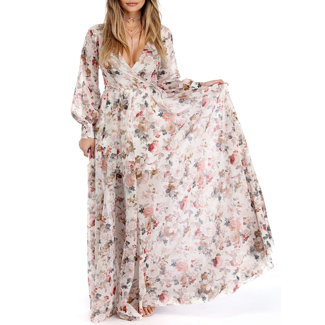 Плюс Размеры длинное Для женщин сезон: весна–лето Бохо пляжное платье свободные женские Цветочный принт шифон с длинным рукавом Повседневное Party Vestidos
