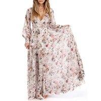 Plus Size Maxi Long Women Spring Summer Boho Beach Dress Loose Female Floral Print Chiffon Long