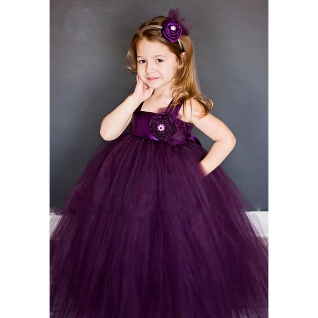 New Design Flower Tutu Dresses For Wedding Cute Princess Flower Plum Tutu Dress  For Flower Girls
