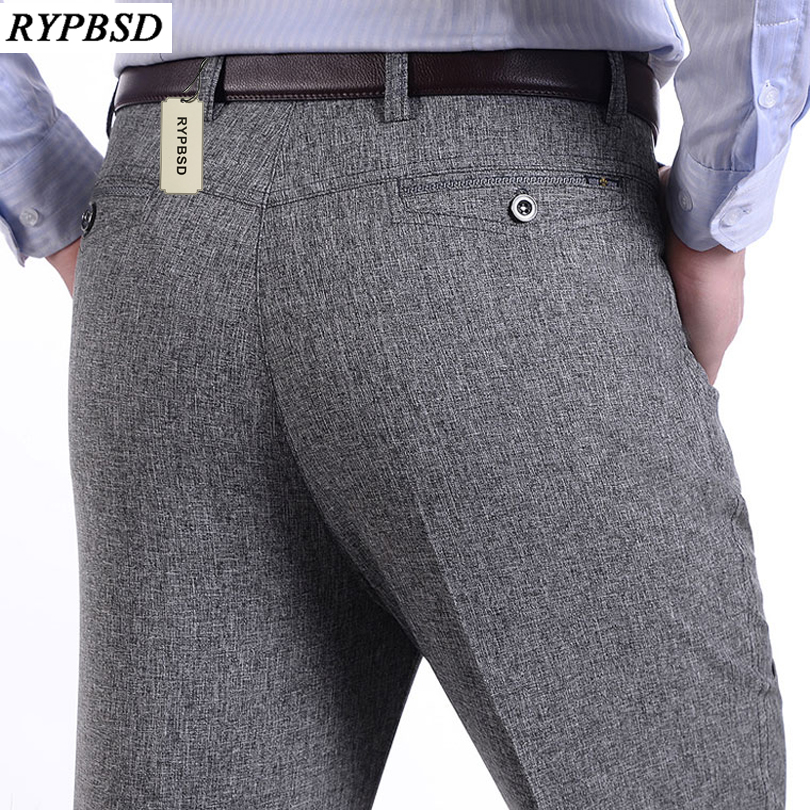 Linen Pants Male Trousers Work Business Thin Grey Men Loose Breathable Straight Summer