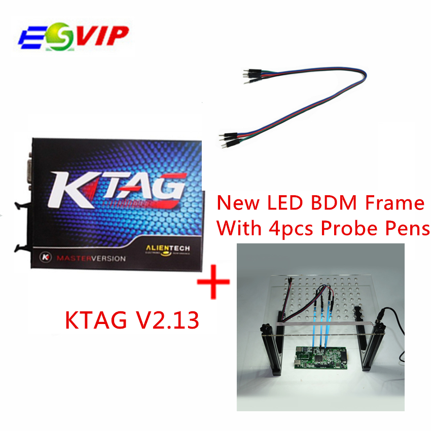 Free shipping best KTAG V2.13+LED BDM Frame With 4 Probe Pens with  Chip Turning Tool For KTag Kess V2 Fgtech Galletto BDM100 new version v2 13 ktag k tag firmware v6 070 ecu programming tool with unlimited token scanner for car diagnosis