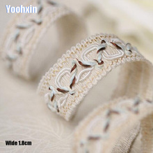 1.8CM Wide HOT beige Embroidery flower lace fabric trim ribbon DIY sewing applique collar cord guipure dress wedding cloth decor lace fabric 1yard lot high quality lace trim embroidery mesh lace ribbon tulle guipure cord lace sewing diy doll cloth