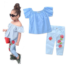 цена на Free Shipping Summer Fashion Children Clothing Set Toddler Kids Girl Off Shoulder Tops+Denim Pants 2018 Baby Girls Clothes Sets