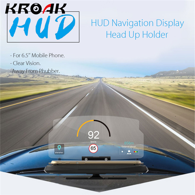 Universal Mobile Phone Car Holder Windscreen Projector HUD Head Up Display 6.5 Inch For iPhone/Samsung GPS rastp m9 hud 5 5 inch head up windscreen projector obd2 euobd car driving data display speed rpm fuel consumption rs hud011