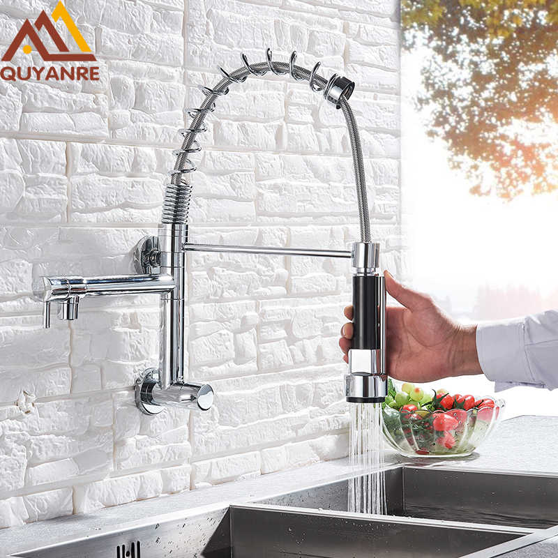 Wall Mounted Spring Kitchen Faucet Pull Down Sprayer Dual Spout Single Cold Water Mixer Sink Faucet 360 Rotation Kitchen Faucets