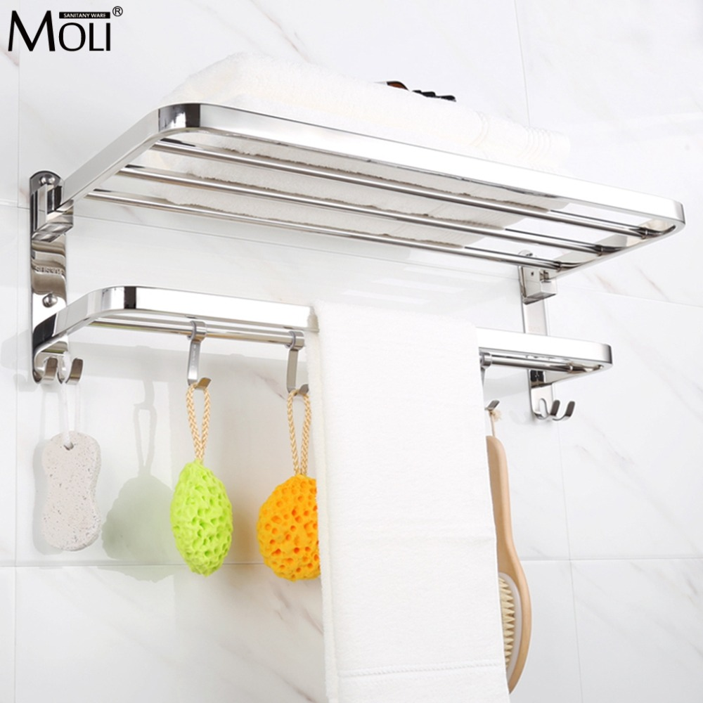 Folding Movable Bath Towel Shelf Stainless Steel Polished Bathroom Towel Rack Towel Holder ML302 sucker bathroom towel rack stainless steel bar folding frame multi pole hanging