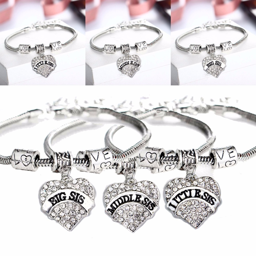 Clear Crystal Heart Charms Big Middle Little Sister Sis Bracelet Love Beads Family Girl Gifts Bangle Best Friends Shiny Jewelry