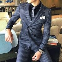 Autumn Winter Suit Jacket Men British Double breasted Stripes Business Casual Suits Coats Mens Blazer Boutique Dress ( 1 Piece )