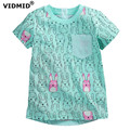 VIDMID Girl t-shirt big Girls tees shirts children sale super quality kids summer clothes rabbit blue cotton free shipping