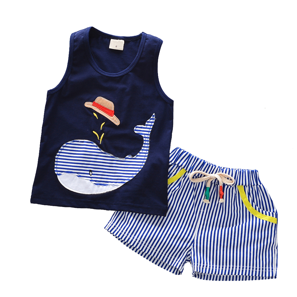 Kids Clothes Boys Clothing Set Baby Clothes Boys Summer Sets Sleeveless Tops + Shorts Striped Toddler Boy Clothing Set 2017 New