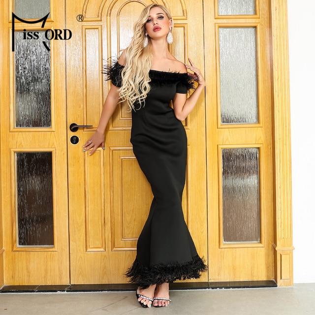 Missord 2019 Women Sexy Slash Neck Off Shoulder Feathers Dresses Female Elegant Maxi Party  Dress FT19501-1