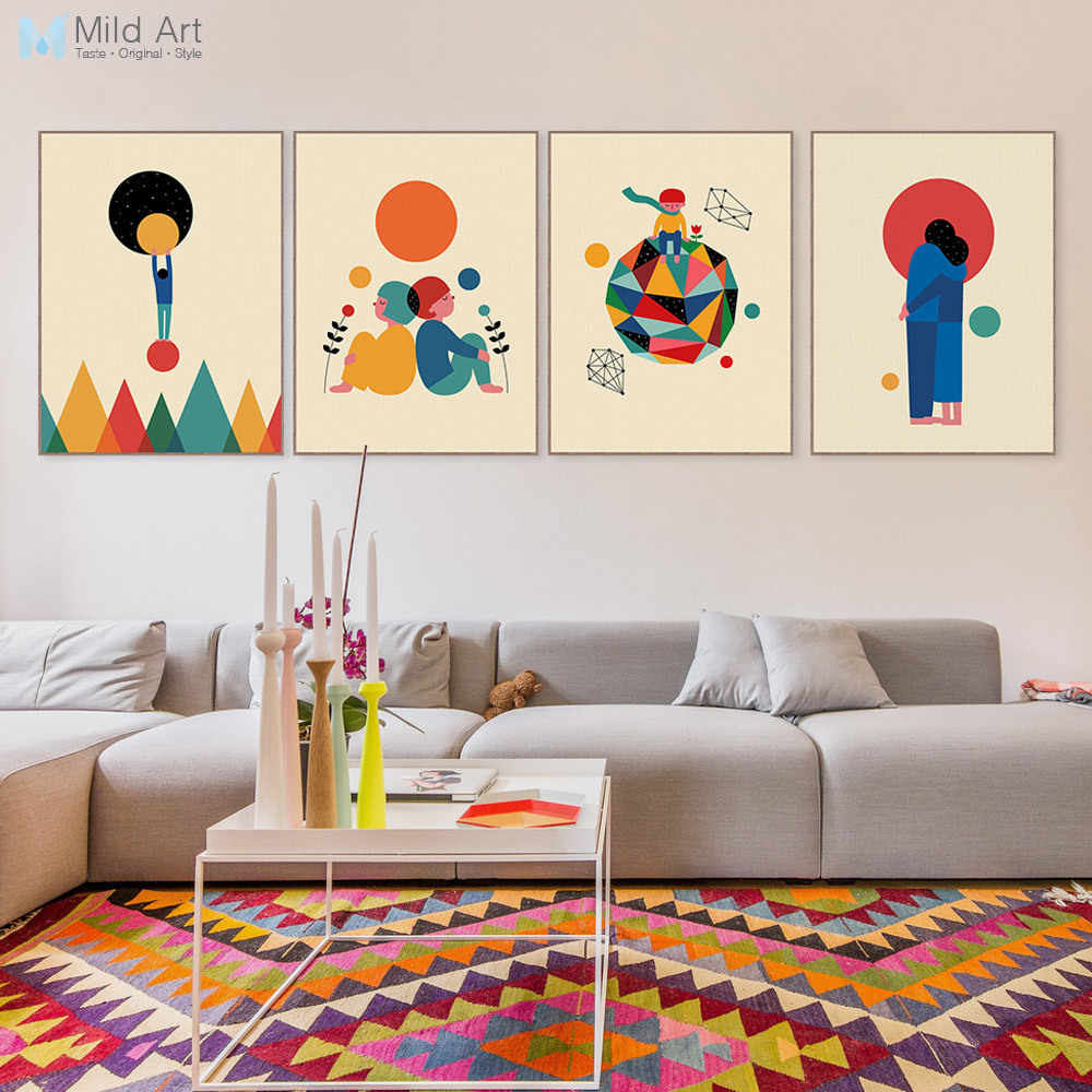 Abstract Geometric Shape Lovers Couple Earth Big Art Print Poster Wall Picture Canvas Painting Custom Noridc Living Room Decor