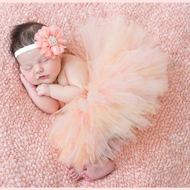 2017 Nueva Princesa Infantil Tutú Con Diadema de Flores Set Newborn Fotografía Atrezzo Bebé Recién Nacido Niña Tutu Falda 13 Colores