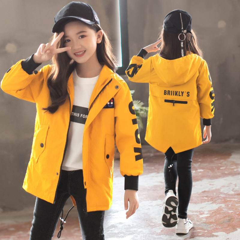 Hooded-Coats Outerwear Jackets Clothing Spring Kids Windbreaker Girls Autumn Letter Casual