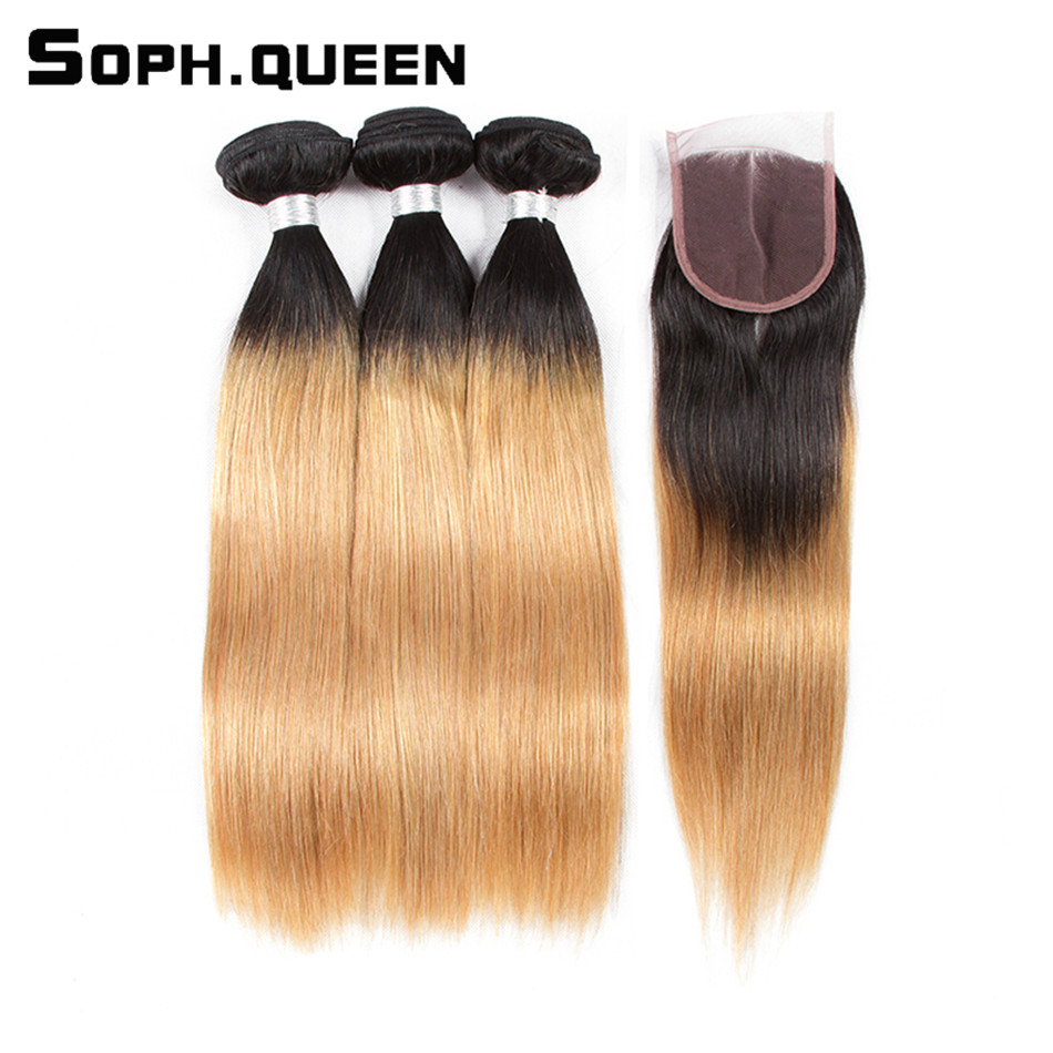 Soph Queen Hair Remy Brazilian Blonde Straight Bundles With Closure Pre-Colored T1B/27 Human Hair Free Shipping