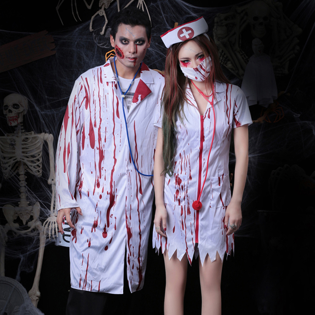 451bbd25ea8 US $4.0 |Halloween New Arrival Men's Horrible Masquerade Bloody Doctor  Cosplay Zombie Blood Nurse Dress Trick Costume Clothing for Event-in Movie  & TV ...
