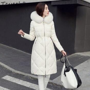 Tcyeek White Duck Down Jacket Women Long Down Coat Female Plus Size 5XL Parka Jackets Fox Fur Hooded Thick Warm Outwear LWL1192