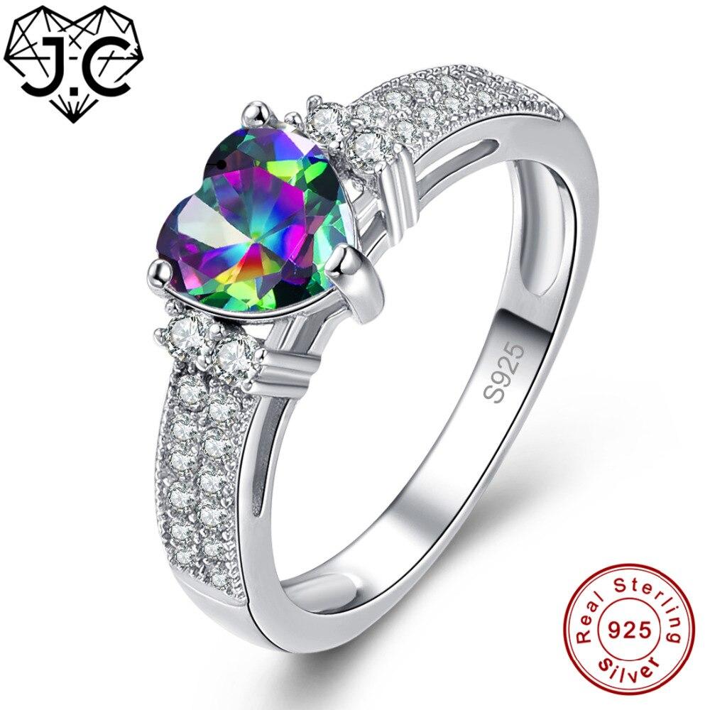 New Love Heart Mystic Rainbow /& White Topaz Gemstone Silver Ring Size 6 7 8 9