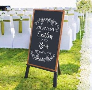 Французский Bienvenue Свадебный знак приветствия наклейка персонализированные свадебные виниловые наклейки Современные свадебные декорации ...