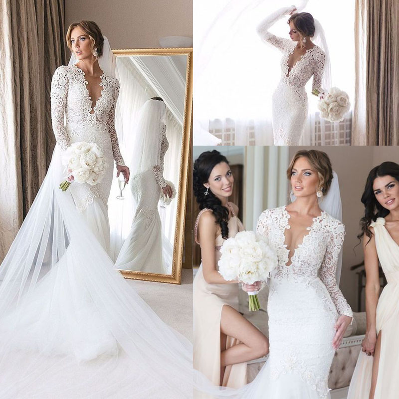 Plunging V-neck Lace Wedding Dress Mermaid Long Sleeve Tulle Skirt Robe De Mariee Bridal Gowns Elegant Bride Wedding Dress 2020