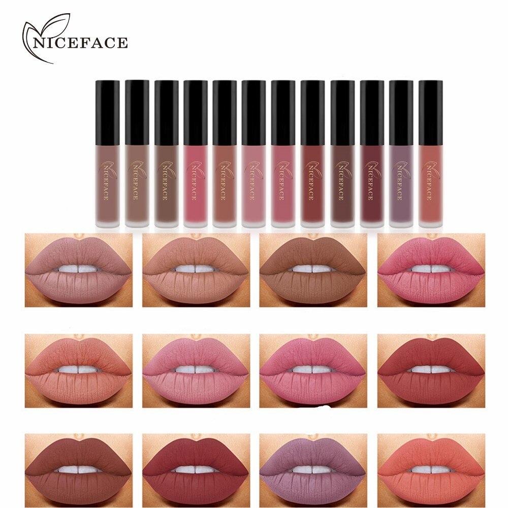 NICEFACE 12Pcs/Set Matte Long-Lasting Lipstick 12 Colors Lip Gloss Waterproof Lip stick 5gx12 Beauty Lips Makeup Lipstick 1