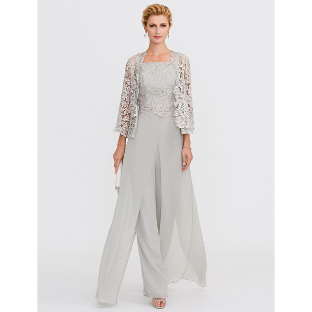 Silver Gray Mother of the Bride Dresses 2019 Pantsuit Front Split Straps Floor Length Chiffon Corded Lace 3 Pieces mother dress