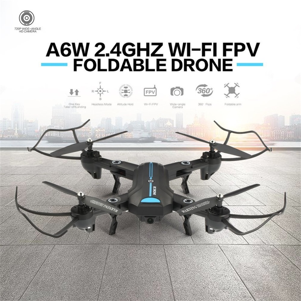 A6W Foldable RC Drone 2.4G Wi-Fi FPV 720P Wide-Angle HD Camera RTF Quadcopter With Gravity Sensor Altitude Hold Headless Mode jjrc h12wh wifi fpv with 2mp camera headless mode air press altitude hold rc quadcopter rtf 2 4ghz