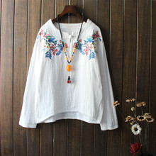 Ethnic Loose Autumn Blusas Tops Femme Vintage Embroidery Floral Shirts Blouses For Women Long Sleeve White Cotton Linen Clothes