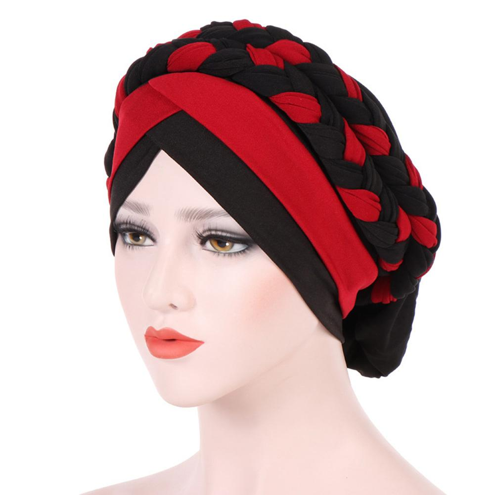 Women's Hats Muslim Braid Hats Caps Fashion Women Double-color Braid Hat 58cm Circumference Warm Knitting Cap San0 Relieving Heat And Sunstroke