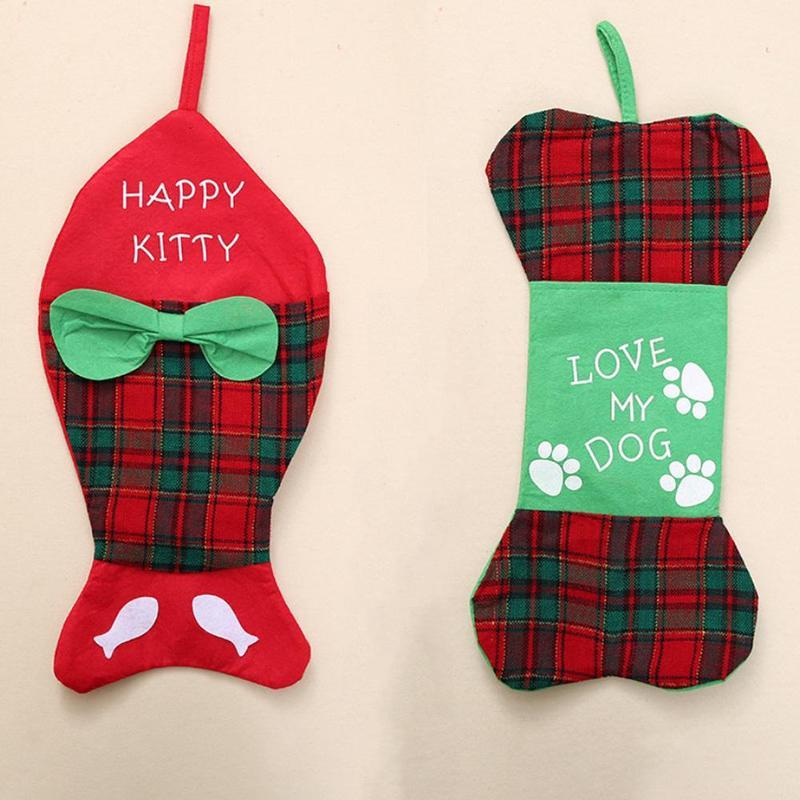 Christmas Stockings Candy Bag Christmas Gift Bags Holiday Supplies Christmas Fish Bone Shaped Socks Home Party Decoration