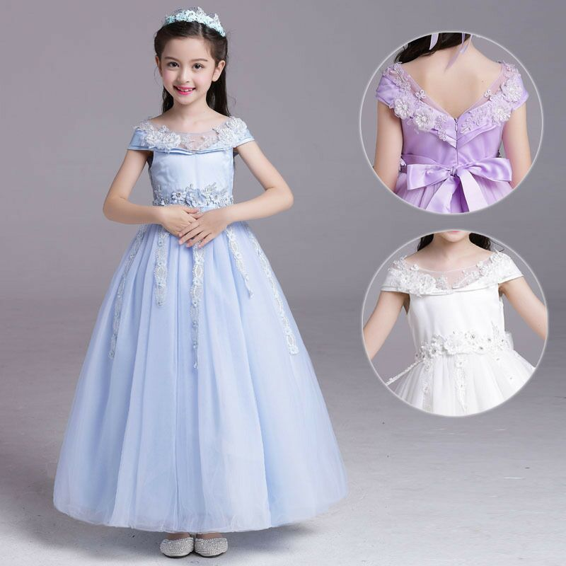 2017 New Summer Costume Girls Princess Dress Children's Evening Clothing Kids Lace wedding Dresses Baby Girl Party Pearl Dress 2018 summer new girls clothing lace mesh splicing baby dresses for girl party princess dress fashion petal kids girls dresses