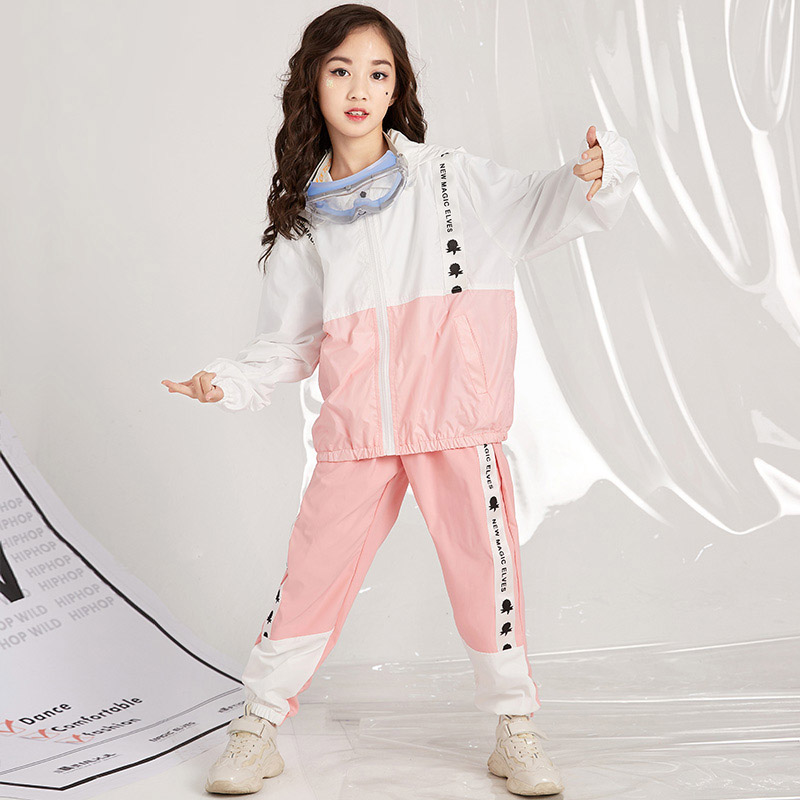 Stage & Dance Wear Dashing Children Hip Hop Set Female Hip-hop Drum Set Pink Jacket Girls Jazz Dance Performance Costumes Dql083