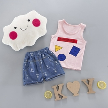 Baby Boys Sets Cartoon Summer Vest Sleeveless Tank Tops + Jeans Denim Shorts 2Pcs Suits Kids Sport Casual Tracksuits