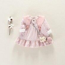 Children Autumn Winter Long Sleeve Baby Girls Kids Princess Velvet Dot Polka Ruffles Infants Tutu Dress Vestidos+Bag S7818