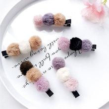Милые Мультяшные детские заколки для волос; заколки для маленьких девочек; три пушистых Помпона; клипсы Утконос; головные уборы; аксессуары для волос