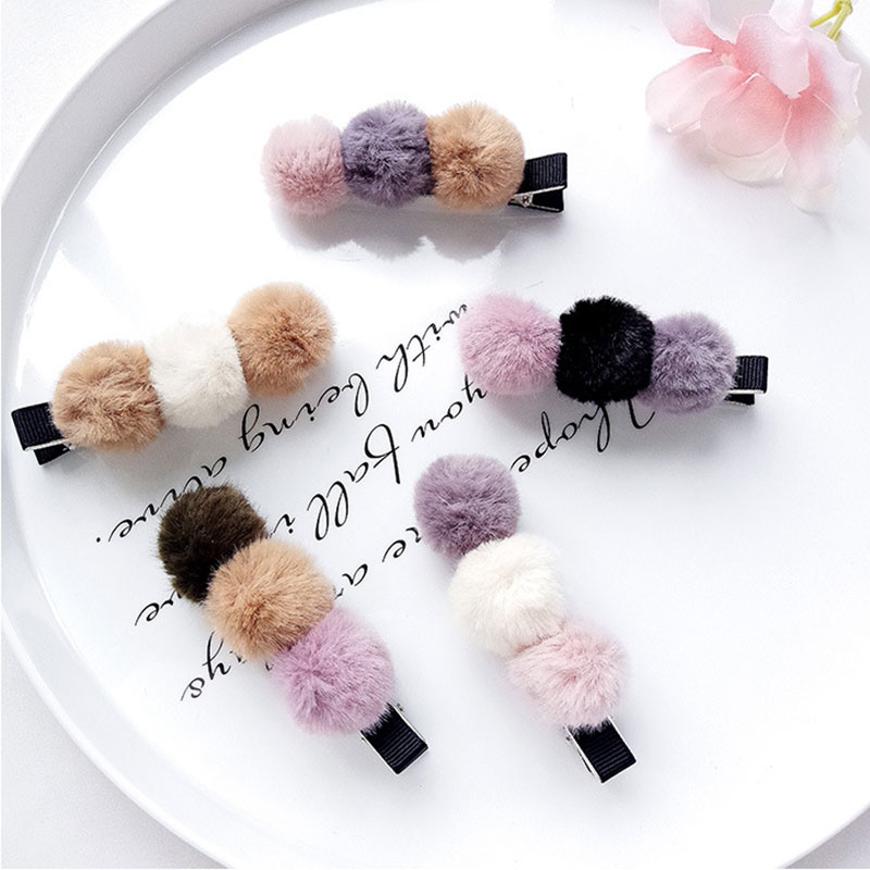Cute Cartoon Kids Hair Pins Personality Girls Baby Barrettes Three Fluffy Ball Pompom Duckbill Clips Headwear Hair Accessioes