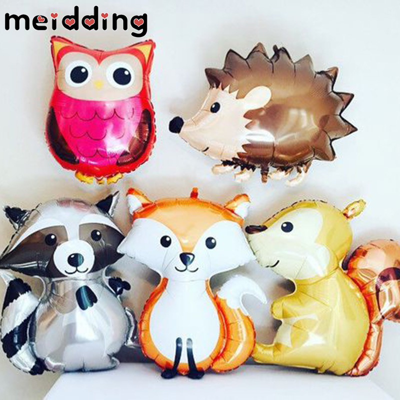 MEIDDING 1Pcs Woodland Friends Jungle Party Animal Aluminum Balloons Fox DIY Decoration Ballons Baby Shower Birthday Supplies in Ballons Accessories from Home Garden