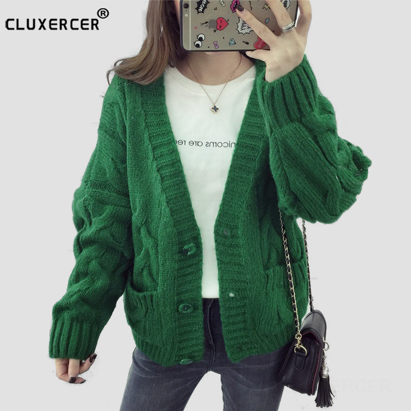 Cardigan Sweater Student Women 2017 New Autumn Loose Deep V-neck Long Sleeve Pocket Knit ...