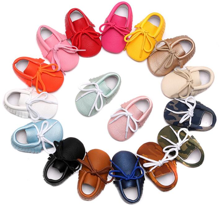 New candy colors Newborn baby moccasins lace-up soft PU leather infant girls boys fringe shoes soft sole Toddler boot 0-24 M