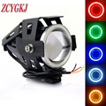 2PCS 5 Color Cree 12V~80V 125W Waterproof U7 LED Car Motorcycle Headlight led Fog light Spot Light Lamp Angle Eyes + Devil Eyes