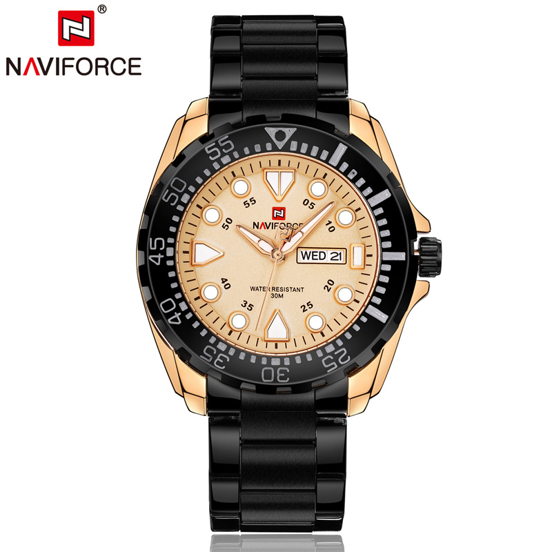 Naviforce Men Quartz Analog Watches Stainless Steel Bracelet  Auto Date Day Luminous Hands Fashion Casual Wristwatch 9105 naviforce nf9057 men quartz watch analog wristwatch date watches pu strap