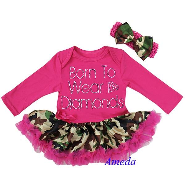 4db19bfce Baby Girl Camo Clothes Mesmerizing Baby Hot Pink Camo Rhinestone Born To  Wear Diamonds Long Sleeves